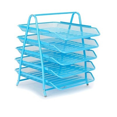 Mind Reader Desk Organizer with 5 Sliding Trays Blue