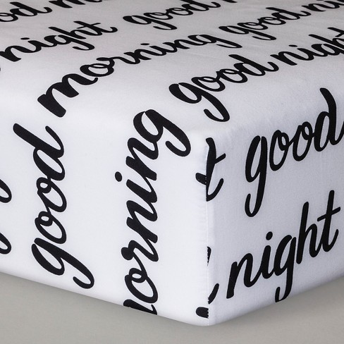 Fitted Crib Sheet Good Morning/Good Night - Cloud Island™ - Black/White - image 1 of 1