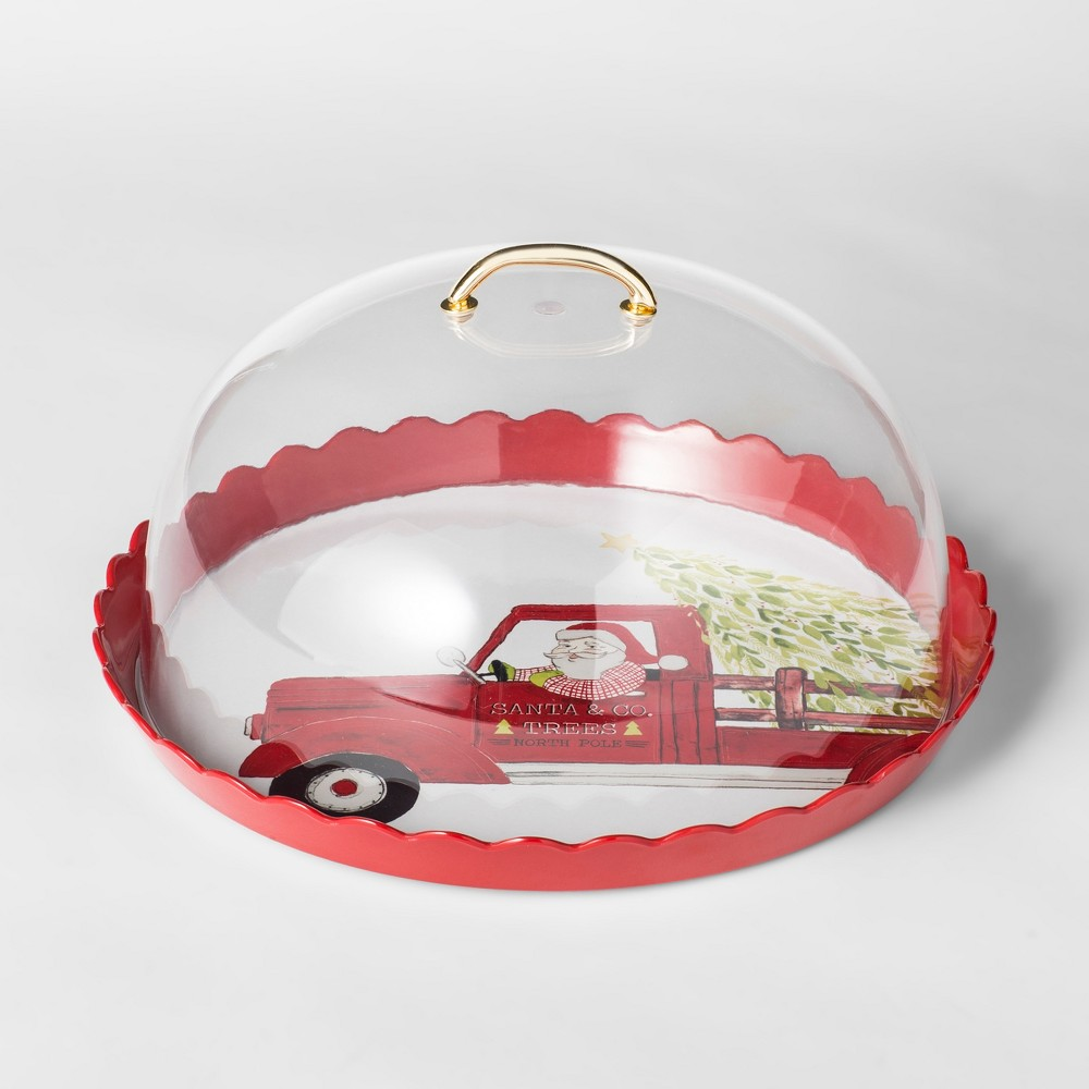 12.3 Plastic Santa Cake Plate With Cover Red/White - Threshold