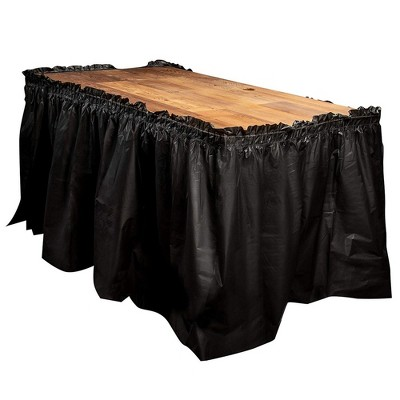 Juvale 6-Pack Ruffled Plastic Table Skirts for Wedding, Engagement, Birthday, Black, for Tables Up To 8 Ft
