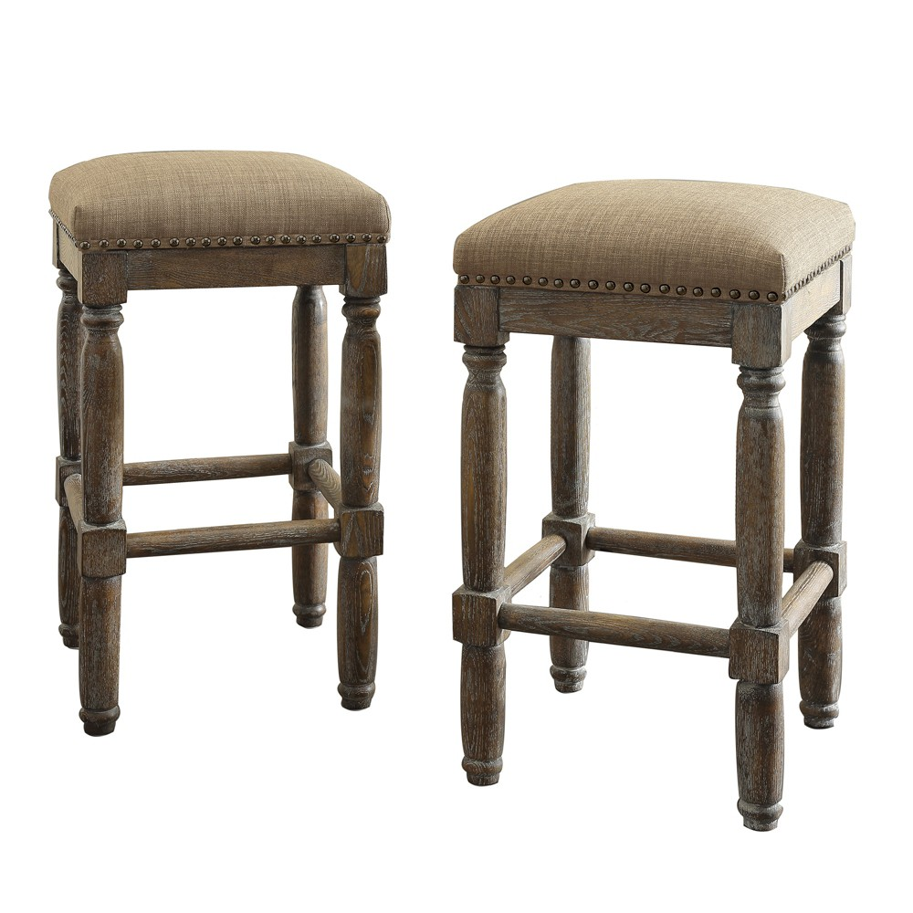 Fabulous Wells 26 Counter Stool Set Of 2 Linen Caraccident5 Cool Chair Designs And Ideas Caraccident5Info