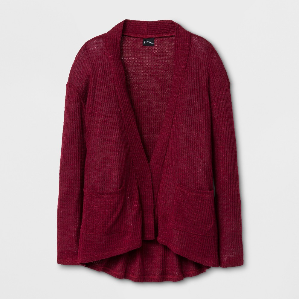 Girls' Open Cardigan with patch Pockets Art Class - Burgundy (Red) S