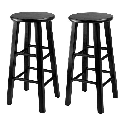"""2pc 24"""" Pacey Counter Height Barstools Set Black - Winsome"""