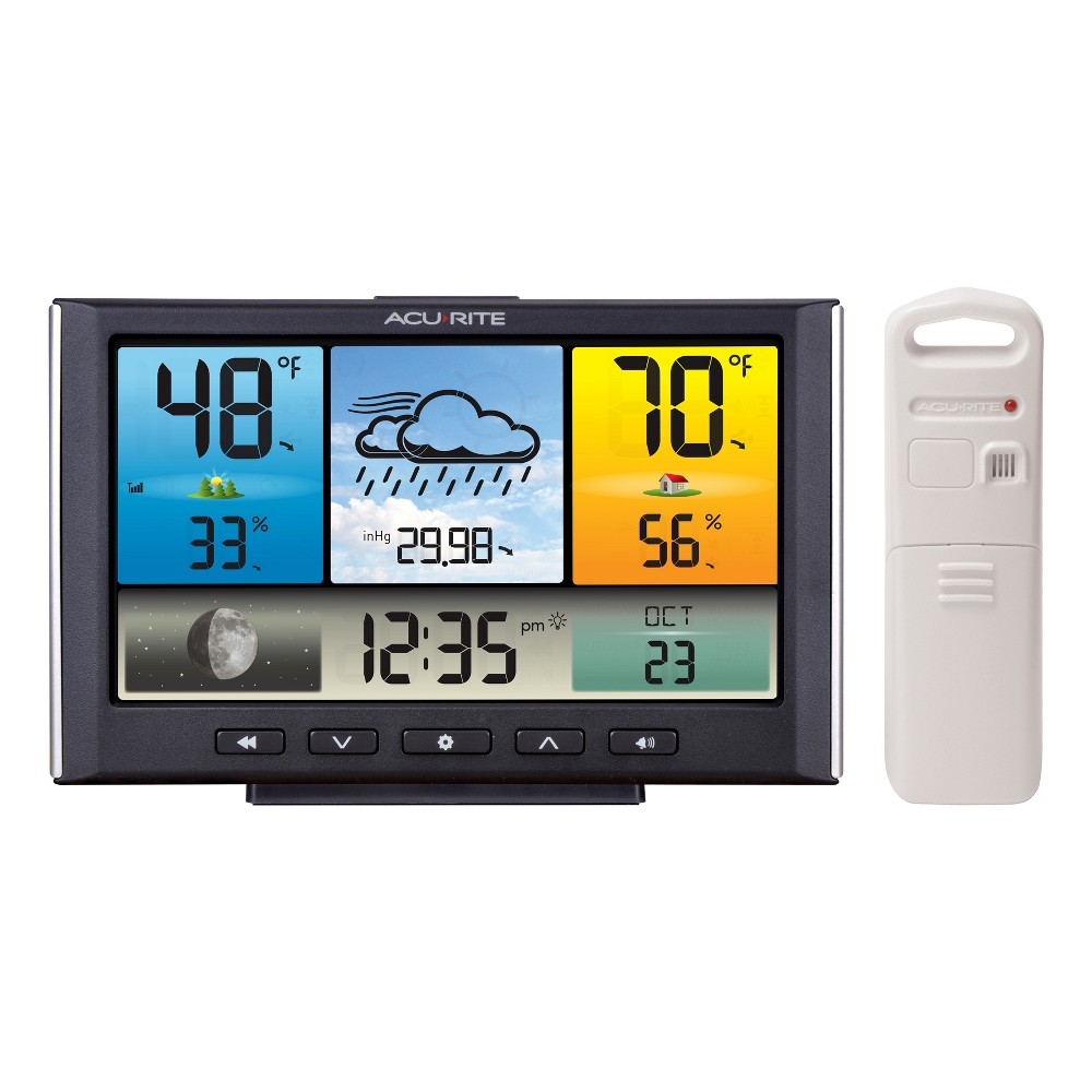 Digital Weather Station - AcuRite, Multi-Colored The AcuRite Digital Weather Station / Weather Clock with Color Display provides all the useful weather data you need, at a glance. It also uses patented Self-Calibrating Technology to provide your personal forecast of 12 to 24-hour weather conditions. Self-Calibrating Forecasting is generated from weather data measured by a sensor in your yard - giving you the most accurate forecast available for your exact location. Color: Multi-Colored.