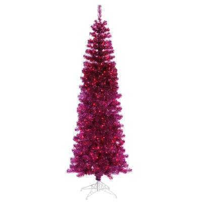 Vickerman 9' Prelit Artificial Christmas Tree Pencil Sparkling Pine - Pink Lights