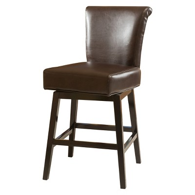 """26.75"""" Tracy Bonded Leather Swivel Counter Height Barstool Brown - Christopher Knight Home"""