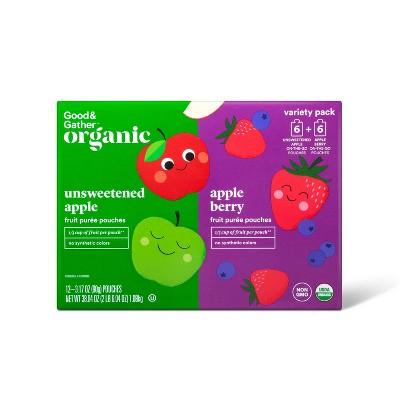 Organic Applesauce Pouches - Apple & Apple Berry - 12ct - Good & Gather™