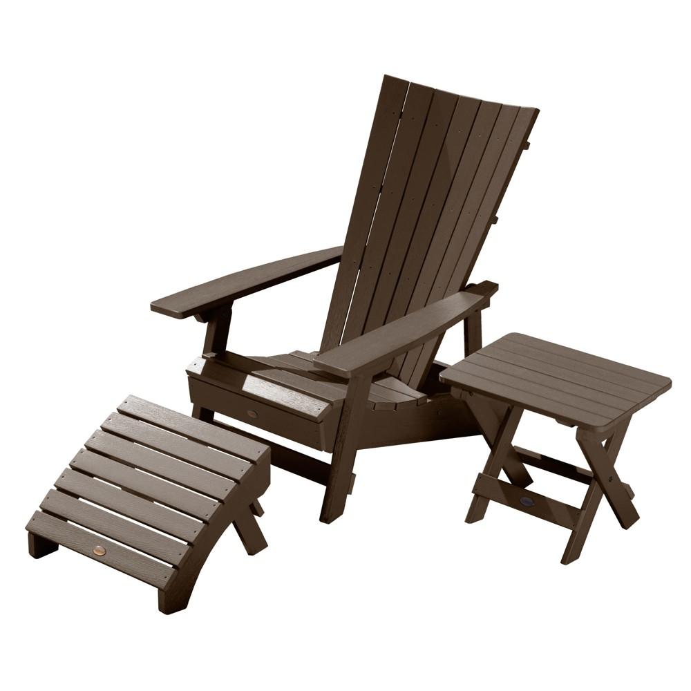 Manhattan Beach Adirondack Chair with Folding Adirondack Side Table & Ottoman Weathered Acorn - Highwood