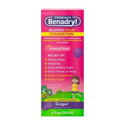 Children's Benadryl Allergy Plus Congestion Relief Liquid - Grape - Diphenhydramine - 4 fl oz