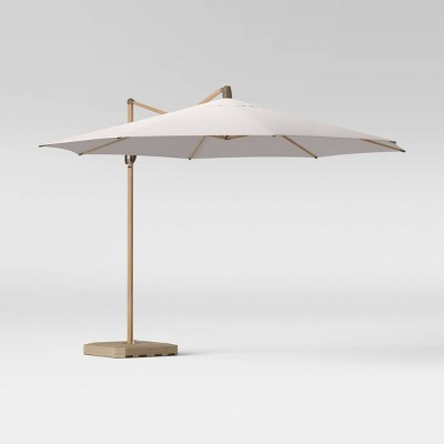 11' Offset Patio Umbrella Linen - Light Wood Pole - Threshold™