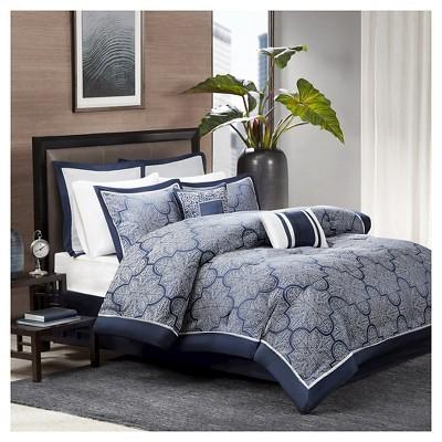 Ryland Jacquard Comforter Set (Queen)Navy - 8pc
