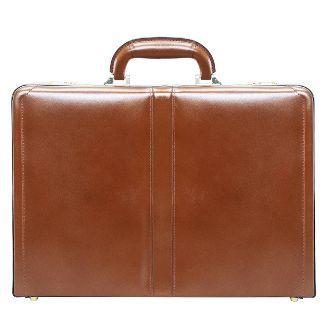 "McKlein Harper Leather 4.5"" Expandable Attache Briefcase - Brown"