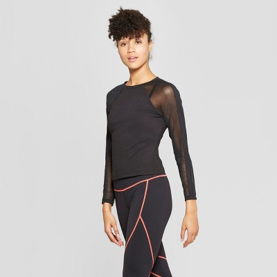 Women's Long Sleeve Mesh Shirt - JoyLab™ Black M