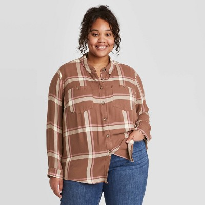 Women's Plus Size Long Sleeve Plaid Button-Down Tunic Shirt - Ava & Viv™