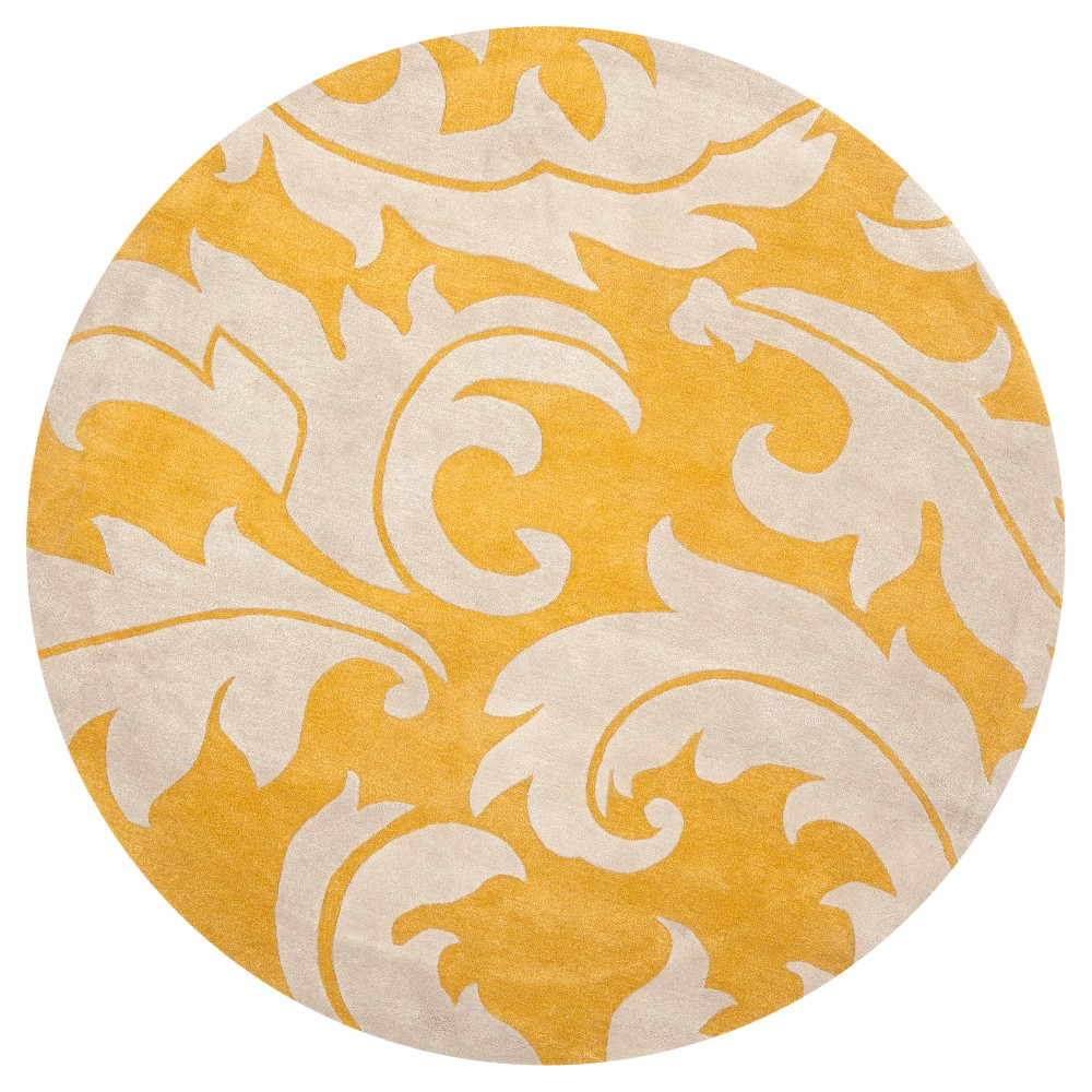 Gold/Ivory Solid Loomed Round Area Rug - (8' Round) - Safavieh