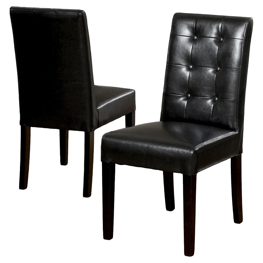 Set of 2 Roland Leather Dining Chair Black - Christopher Knight Home was $241.99 now $157.29 (35.0% off)