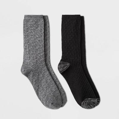 Warm Essentials by Cuddl Duds Women's Lightweight Birdseye Stitch 2pk Crew Socks - 4-10
