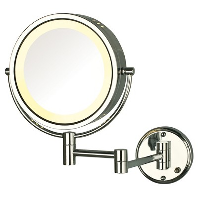 Jerdon 8X-1X Direct Wire Halo Lighted Wall Mount Mirror Extends 13.5  Chrome