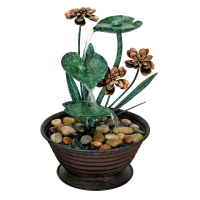 Lily Pad Indoor Water Fountain With Pump - Foreside Home & Garden