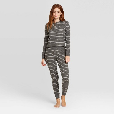 Women's Striped Thermal Pajama Set - Stars Above™ Gray XL