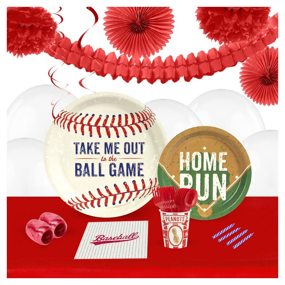Baseball Time 16 Guest Party Pk with Decoration Kit