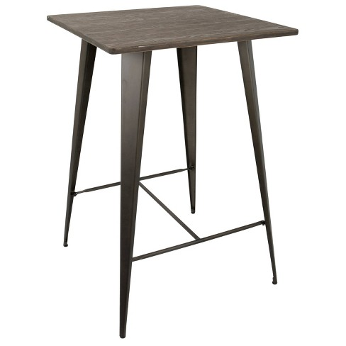 "Oregon Industrial 41"" Pub Table Antique Metal with Espresso Wood Top - LumiSource - image 1 of 4"