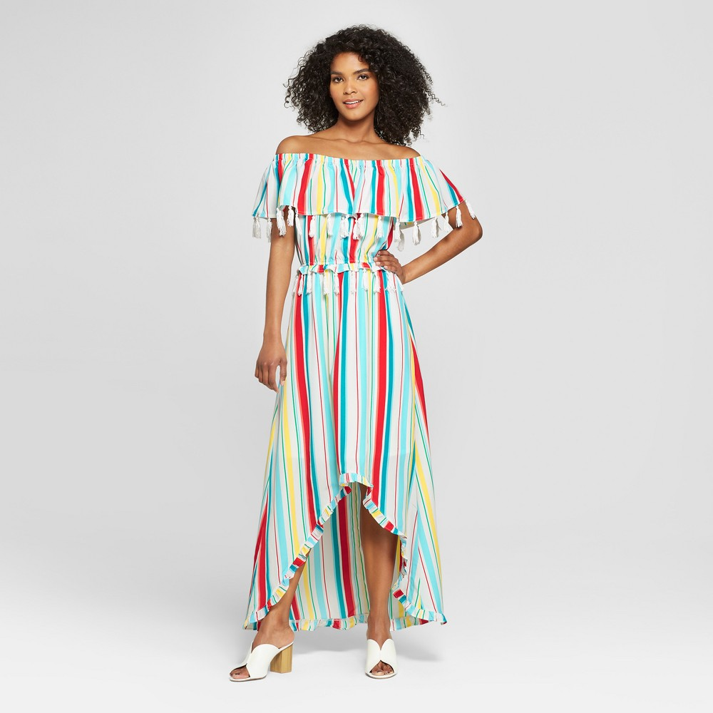 Women's Striped Off the Shoulder Tassel Ruffle Maxi Dress - XOXO (Juniors') Blue/White/Red L, Blue/Red/White was $69.98 now $31.49 (55.0% off)