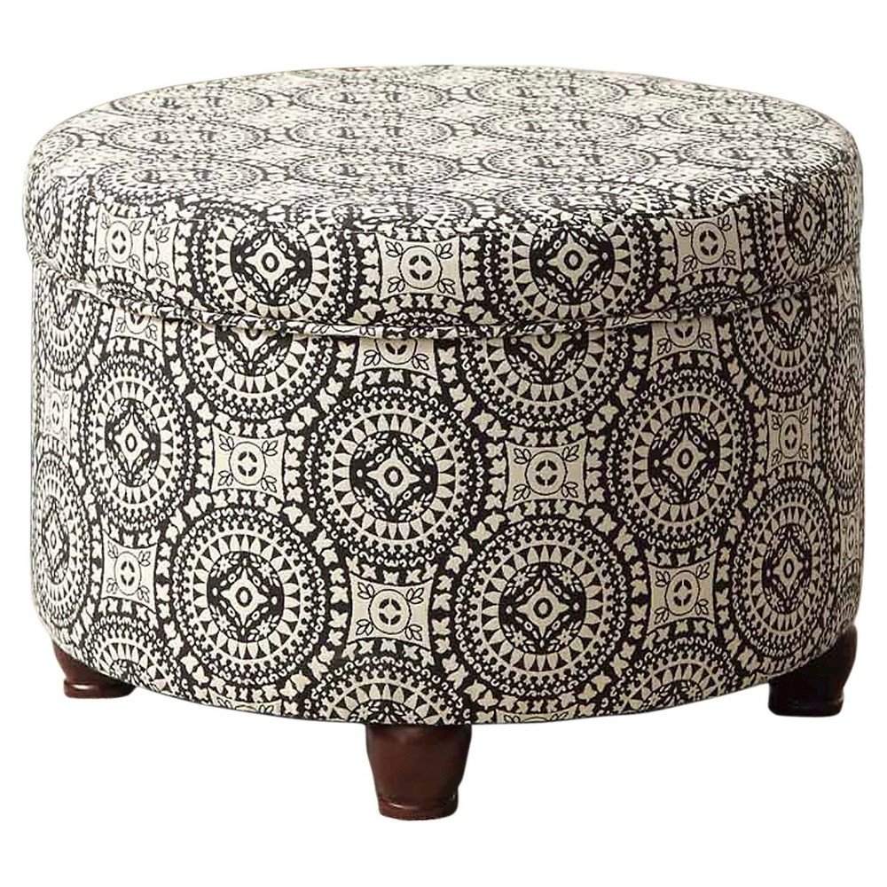 Large Round Storage Ottoman Black/White - HomePop