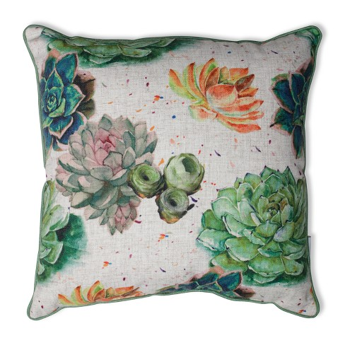 "Pillow Perfect 18""x18"" Succulent Plants Throw Pillow Green - image 1 of 2"