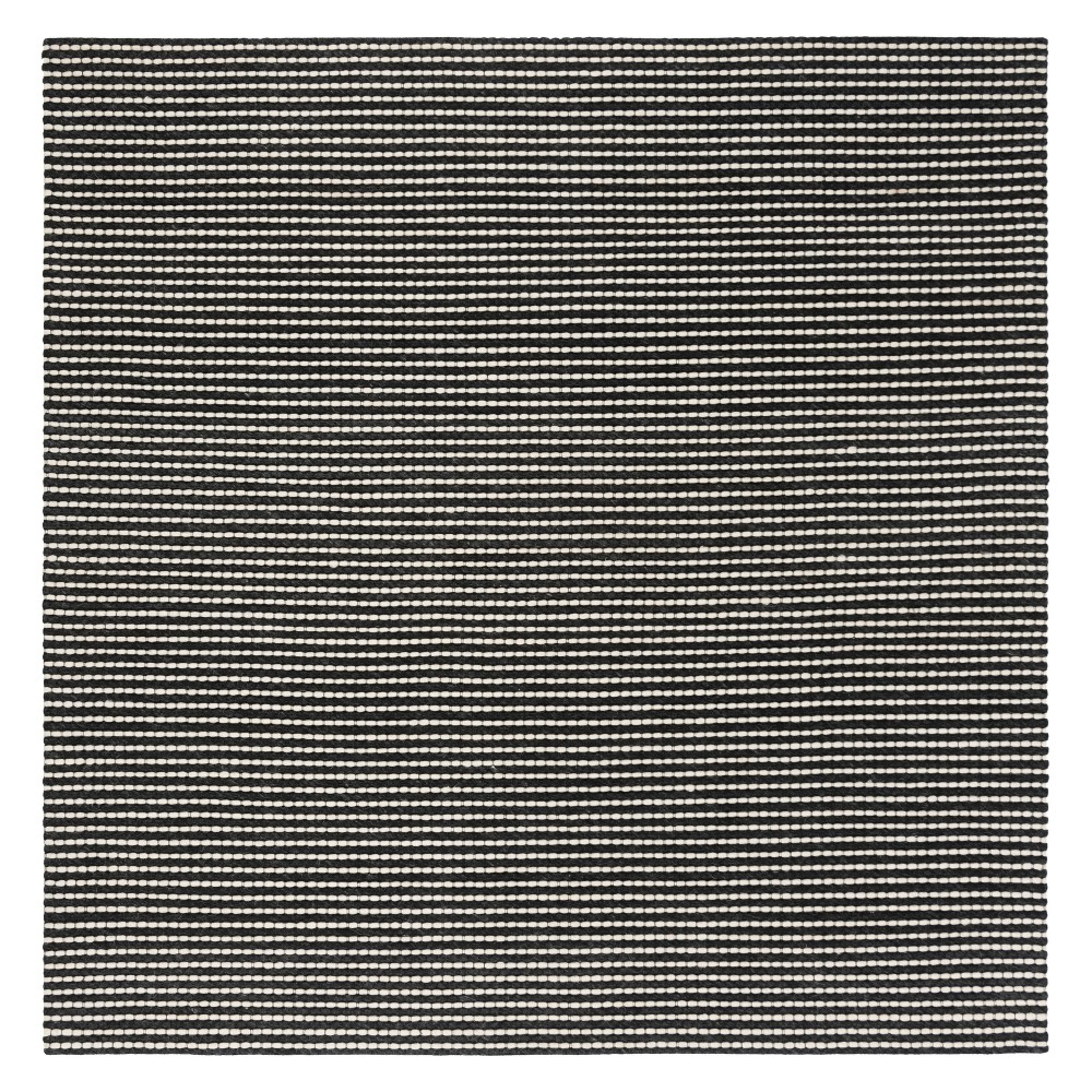 6'X6' Solid Woven Square Area Rug Ivory/Black - Safavieh