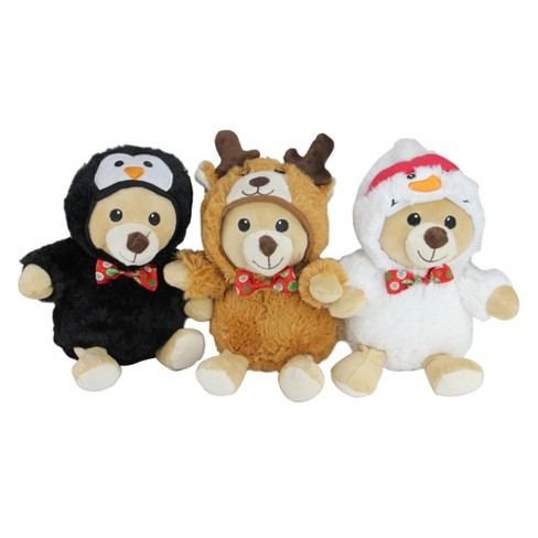 "Northlight Set of 3 Plush Teddy Bear Stuffed Animal Figures in Christmas Costumes 8"" - image 1 of 4"