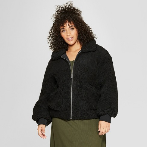 e71277f453b Women s Plus Size Teddy Jacket - Who What Wear™ Black   Target