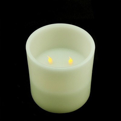"""Northlight 6"""" Ivory Battery Operated Flameless LED Lighted 3-Wick Flickering Christmas Pillar Candle"""