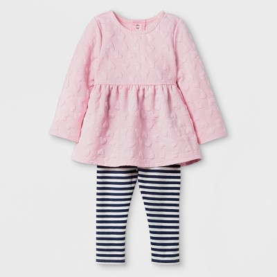 Baby Girls' Long Sleeve Hearth Tunic and Stripe Leggings Set - Cat & Jack™ Pink/Black 12M
