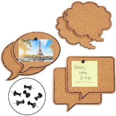 6-Pack Cork Bulletin Boards, 3 Speech Bubble Designs, 6 Push Pins Included