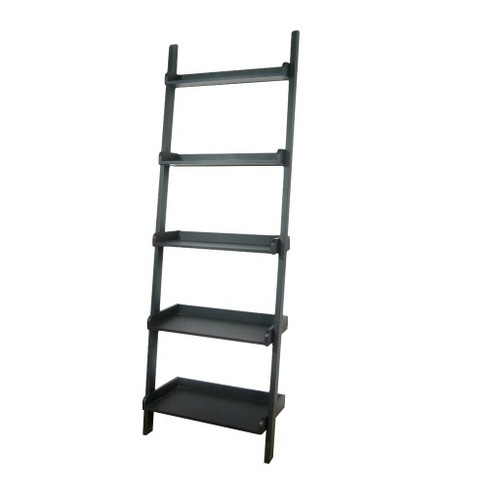 7525 5 Tier Solid Wood Leaning Bookcase Black