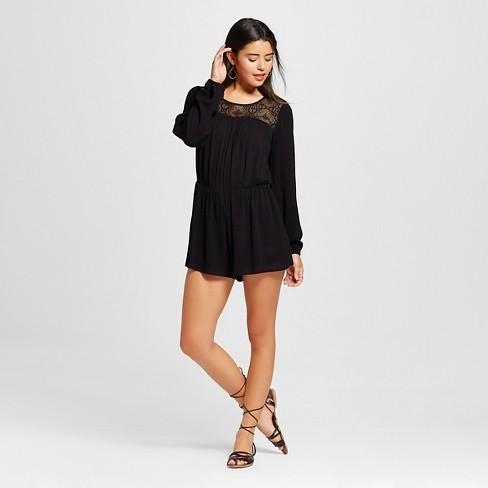 b986a9d8107d Women s Gauze Long Sleeve Romper - Xhilaration™ Black XS   Target