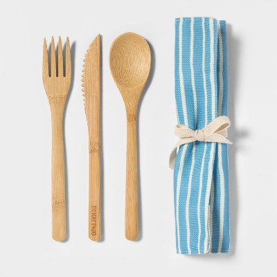 3pc Bamboo Utensil Set with Bag Blue/Cream Stripe - Opalhouse™