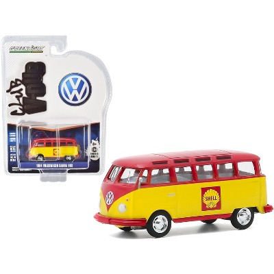 "1964 Volkswagen Samba Bus ""Shell Oil"" Yellow and Red ""Club Vee V-Dub"" Series 11 1/64 Diecast Model by Greenlight"