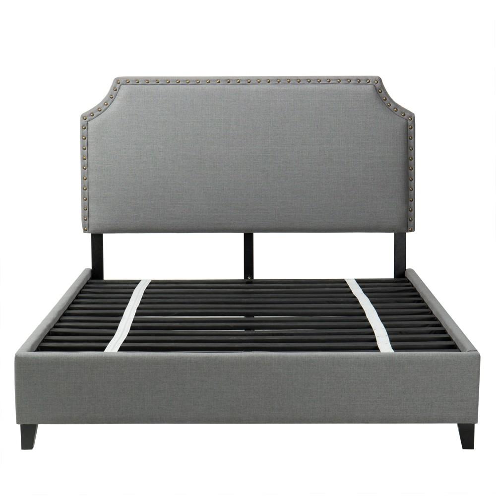 Queen Harris Upholstered Platform Bed with Nailheads Dark Gray - John Boyd Designs
