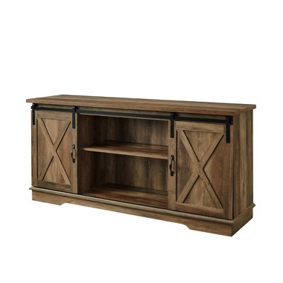 "Modern Farmhouse Wood TV Stand for TVs up to 65"" Rustic Oak - Saracina Home"