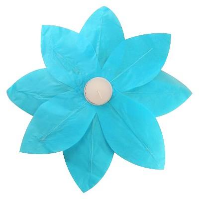 6ct Floating Lotus Paper Lantern Turquoise