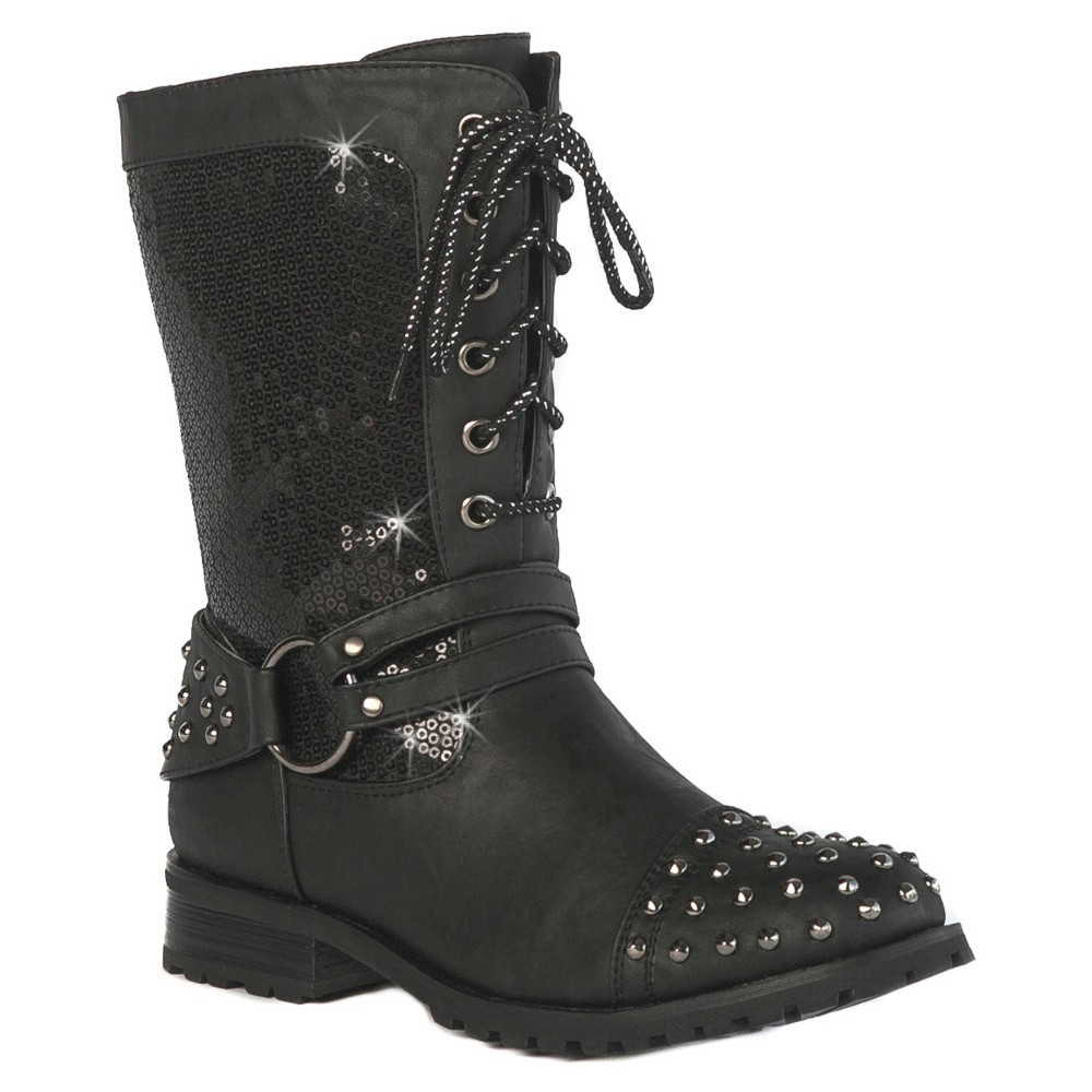 Gia-Mia Girls' Chic Studded Combat Boots - Black 3