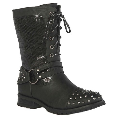 Gia-Mia Girls' Chic Studded Combat Boots - Black - image 1 of 3