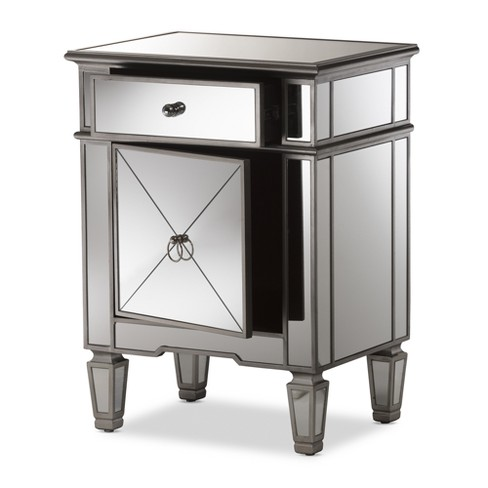 Claudia Hollywood Regency Glamour Style Mirrored Nightstand Baxton