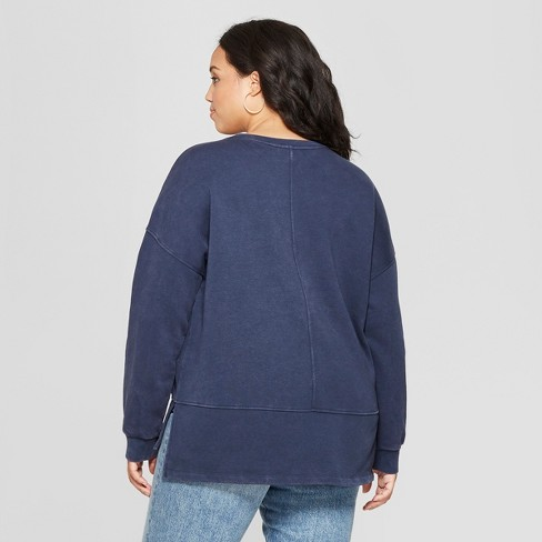 5f511cba205 Women s Plus Size Tunic Long Sleeve Sweatshirt - Universal Thread™ Navy X    Target