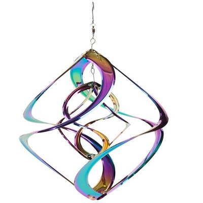 Wind & Weather Vibrant Multi-Colored Iridescent Dual Spiral Hanging Metal Wind Spinner