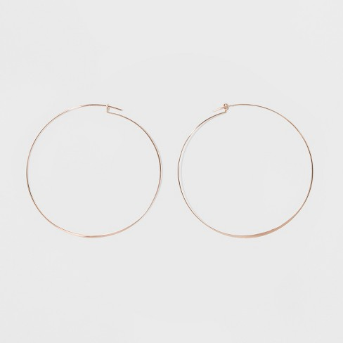 Large Flat Hoop Earrings - A New Day™ Rose Gold - image 1 of 3