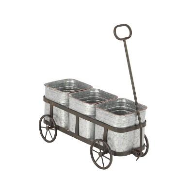 "16"" Farmhouse Iron Vintage Wagon Novelty Planter Silver - Olivia & May"