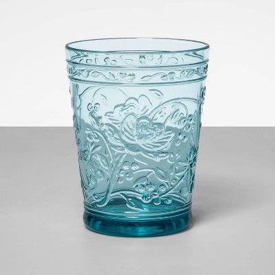 16oz Plastic Floral Embossed Short Tumbler Blue - Opalhouse™